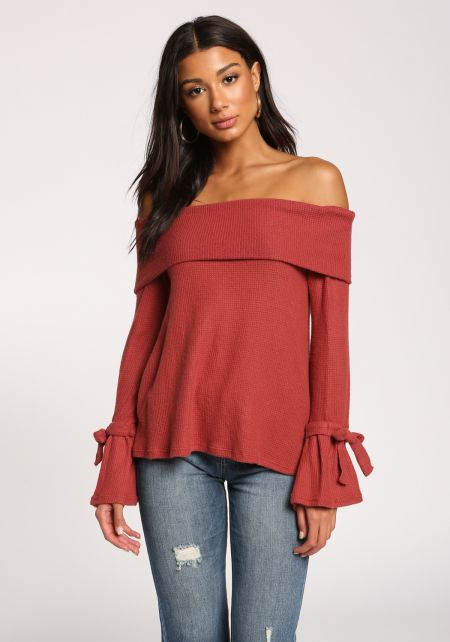 Brick Off Shoulder Bell Sleeve Thermal Knit Top
