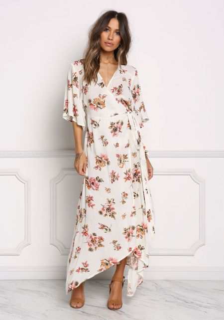 Ivory Gauze Floral Wrap Maxi Dress