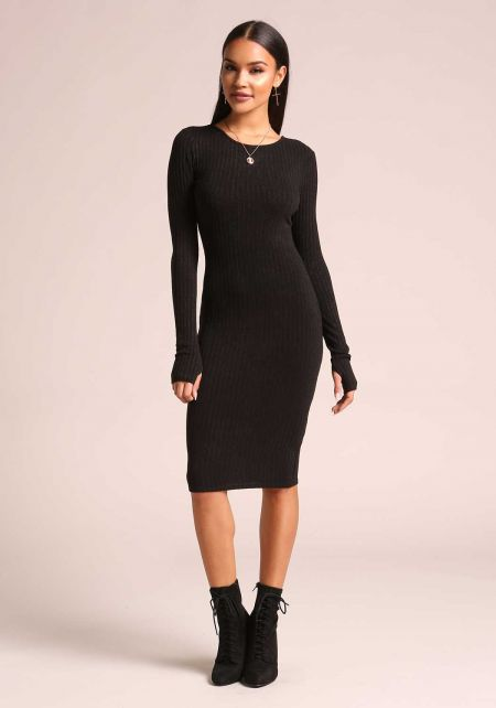 Black Ribbed Knit Bodycon Dress