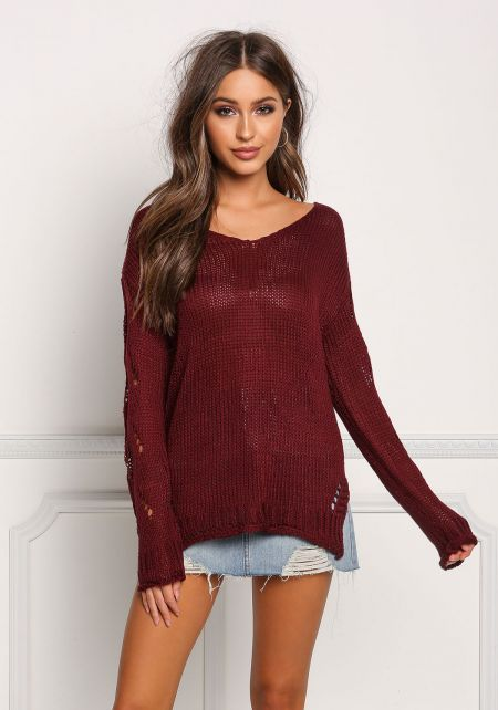 Burgundy Back Frayed Knit Sweater Top