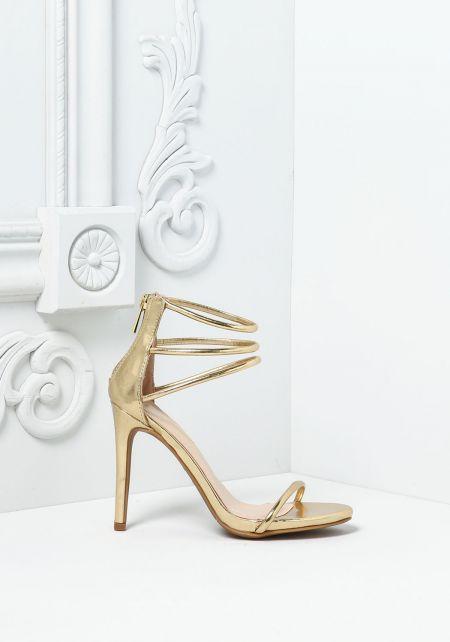 Gold Leatherette Triple Strap Heels