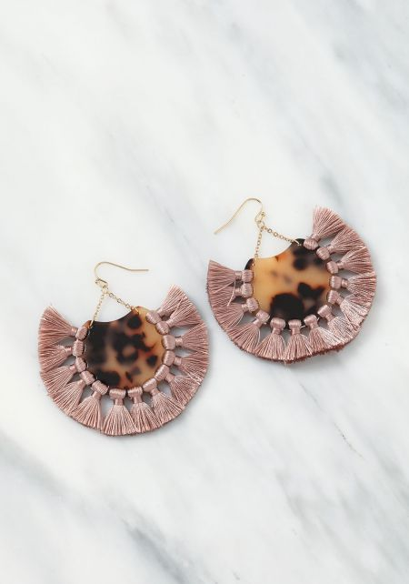 Pink Resin Tassel Earrings