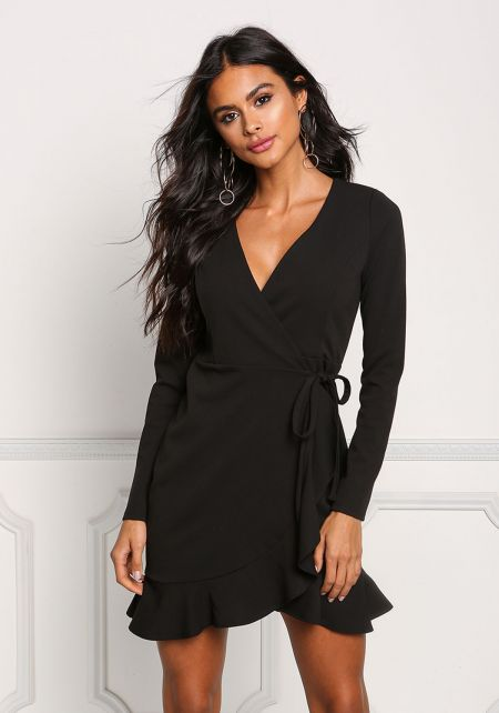 Black Ruffle Deep V Wrap Dress