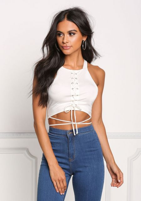 Ivory Lace Up Wrap Around Crop Top