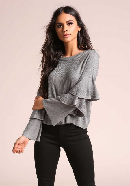 Grey Tiered Bell Sleeve Sweater Knit Top