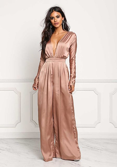 Taupe Silky Plunge V Wide Legged Jumpsuit