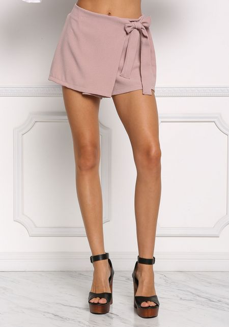 Light Mocha High Waist Surplice Skort