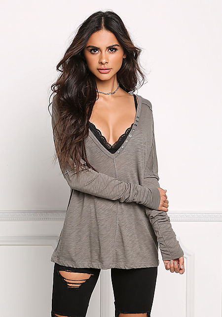 Olive Marled Button Trim Top