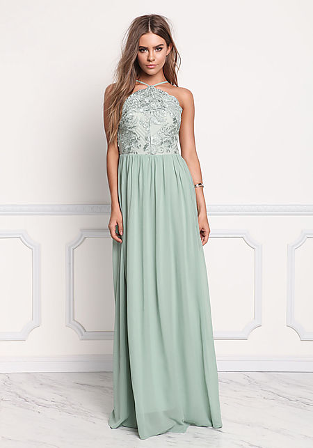 Sage Floral Embroidered Chiffon Maxi Gown