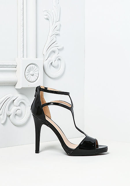 Black Patent Leatherette Strappy Heels