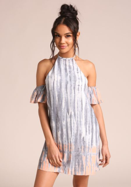 Multi Tie Dye Cold Shoulder Shift Dress