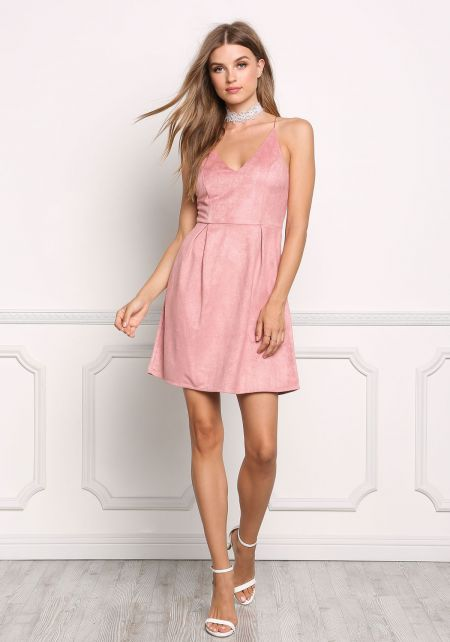 Rose Suedette Pleated Cross Strap Dress