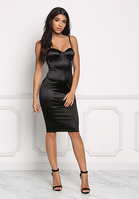 Black Satin Bustier Bodycon Dress