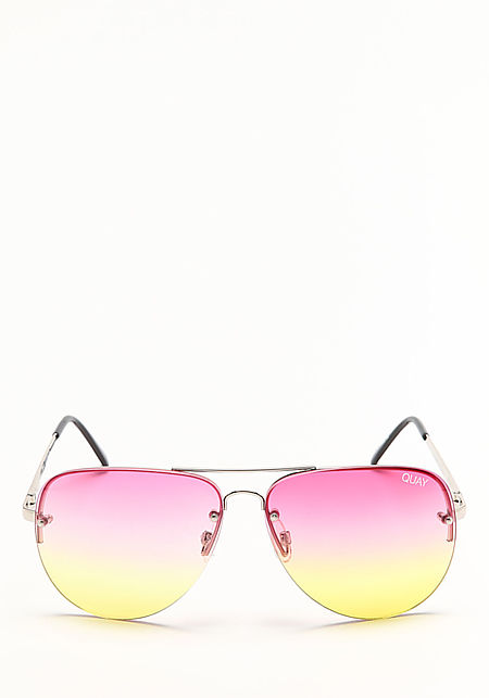 Quay Muse Fade Sunglasses in Silver and Pink