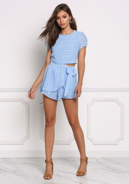 Blue Stripe Embroidered Layered Surplice Shorts