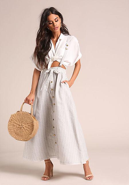 a1f86dbc97b0c Grey Pinstripe Suspender Overalls Skirt ...