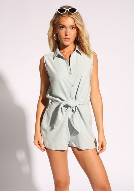 Light Denim Tie Front Collared Romper