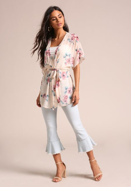 Cream Floral Waist Tie Kimono