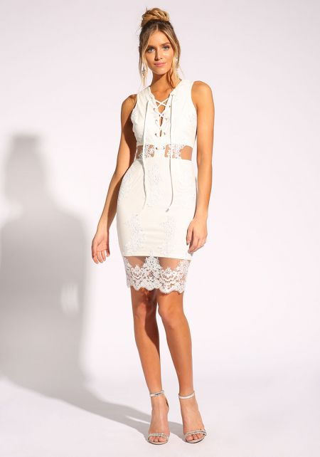 White Tulle Embroidered Lace Up Dress