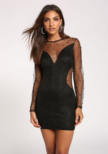 Black Tulle Studded Glitter Bodycon Dress