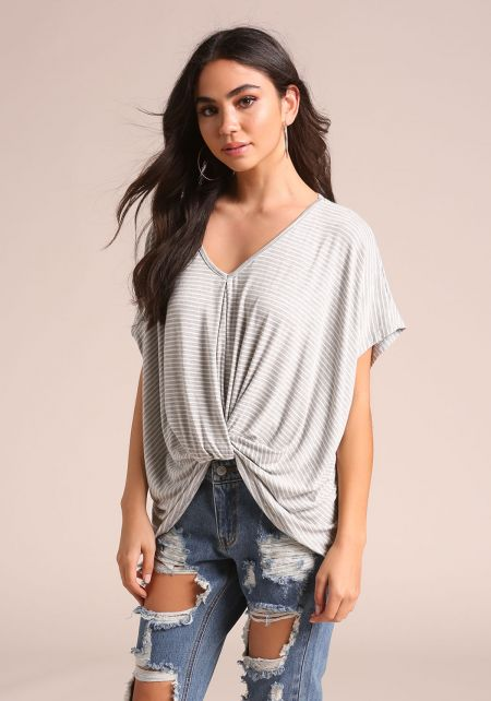 Grey Stripe Twisted Dolman Top