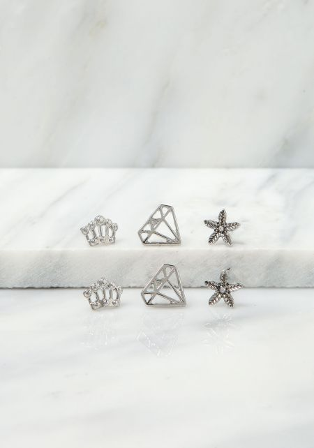 Silver Diamond Crown Assorted Earrings Set