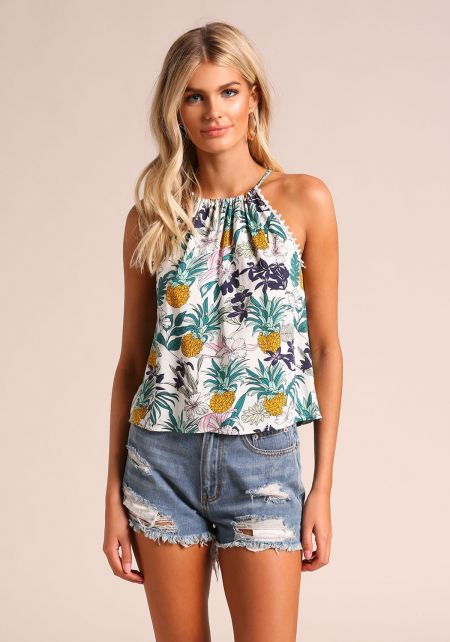 Ivory Floral Pineapple Tank Top