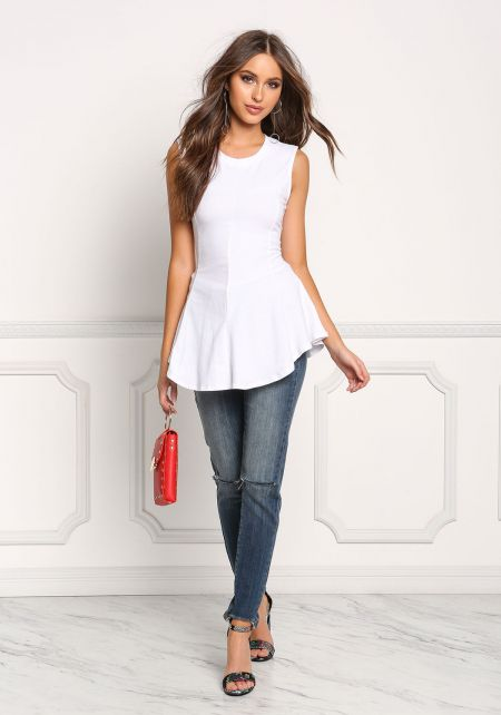 White Jersey Knit Peplum Tank Top
