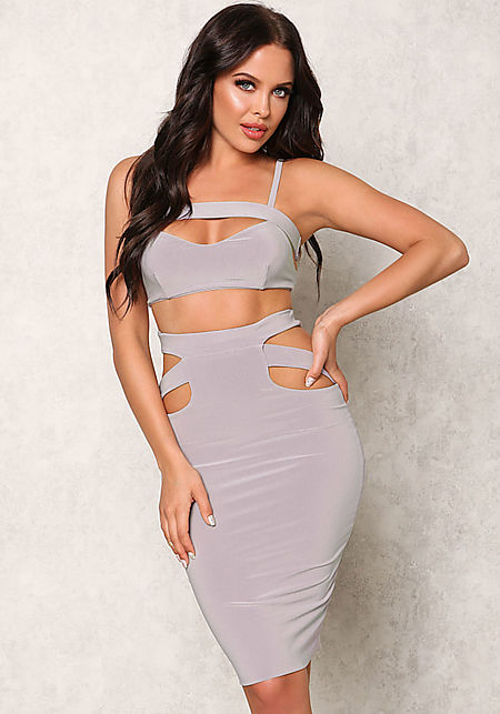 Light Grey Cut Out Crop Top