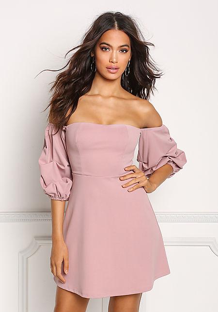 Mauve Off Shoulder Ruched Sleeve Dress
