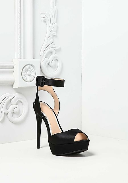 Black Satin Thick Ankle Strap Heels