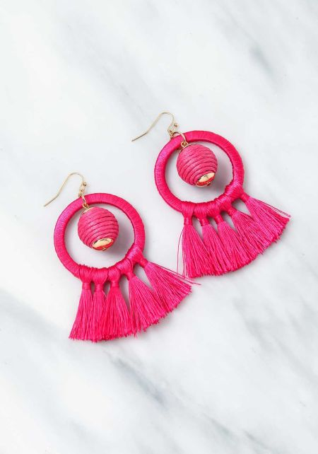 Fuchsia Short Tassel Earrings