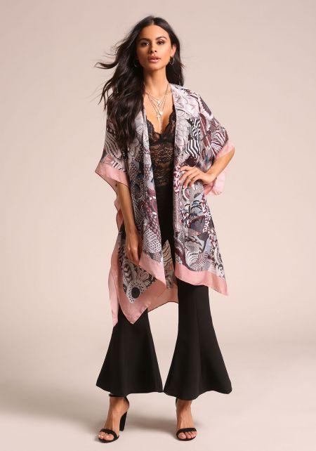 Pink Silky Multi Print Kimono