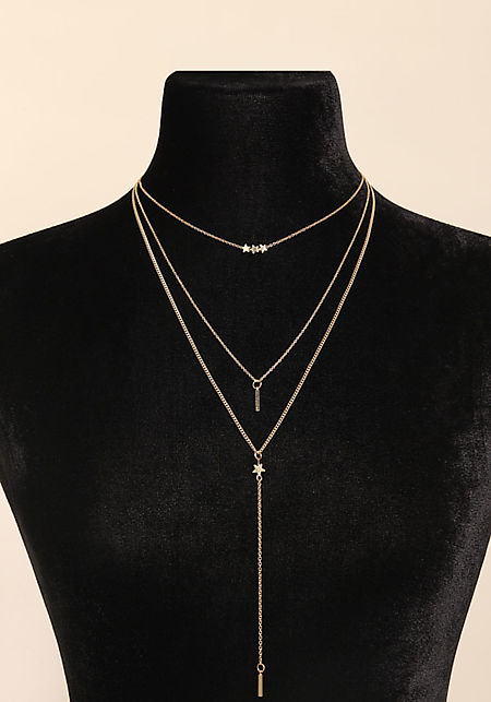 Gold Layered Star Drop Chain Necklace