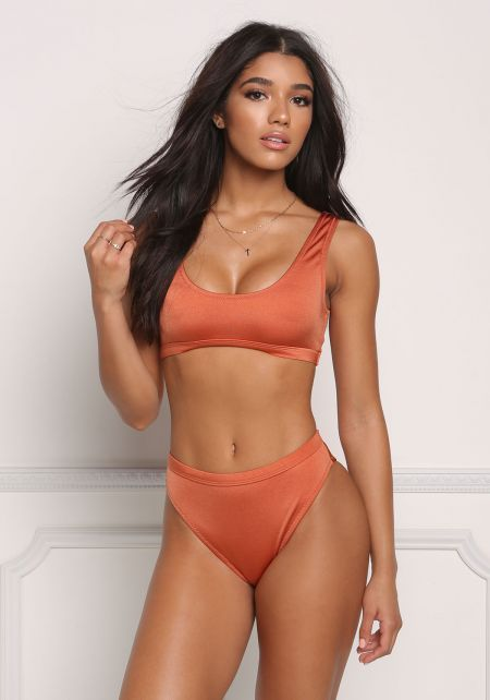 Copper Metallic High Waist Swimsuit Bikini Bottoms