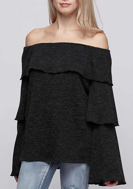 Charcoal Off Shoulder Tiered  Bell Sleeve Top