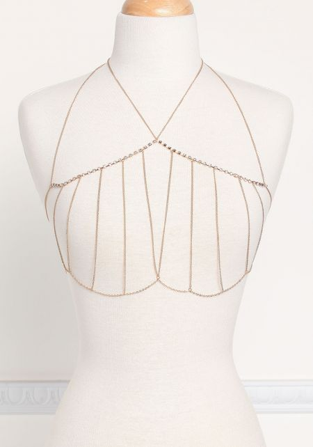 Gold Thin Chain Rhinestone Bralette