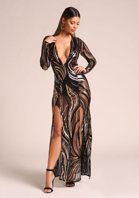 Gold and Black Sequin Plunge Double Slit Maxi Dres