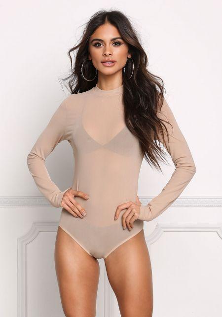 Khaki Minimalist Mesh Bodysuit
