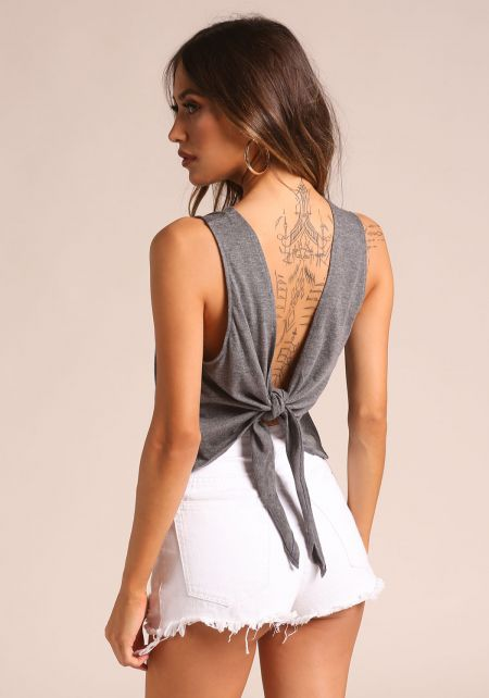 Charcoal Tie Back Tank Top