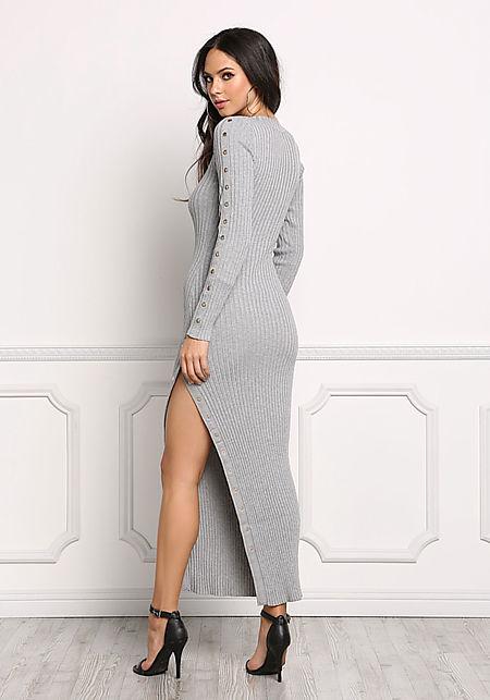Heather Grey Button Trim Ribbed Midi Dress