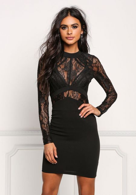 Black Floral Lace Bodycon Dress