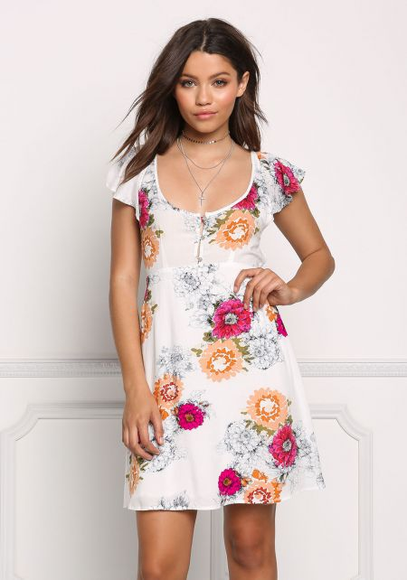 Multi Floral Open Back Shift Dress