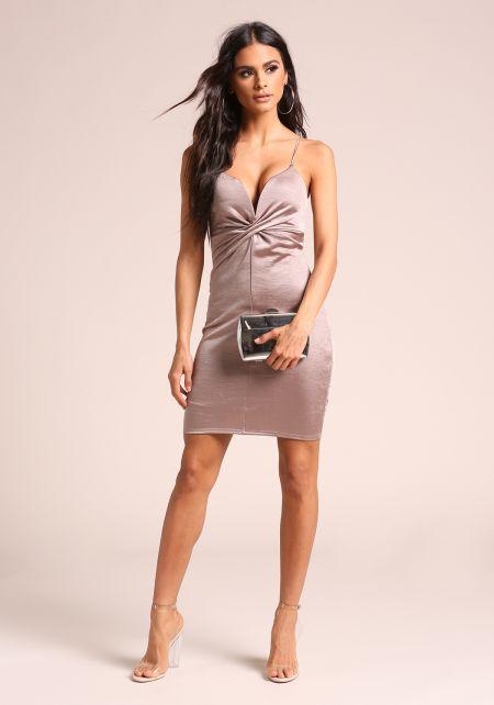 Mocha Twisted Plunge Lustrous Bodycon Dress