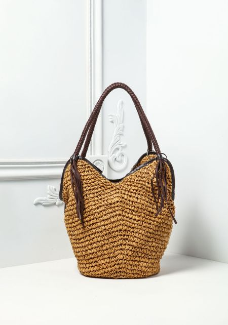 Brown Woven Braided Handle Bag
