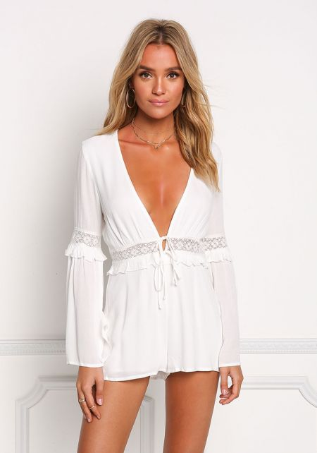 White V Plunge Embroidered Bell Sleeve Romper