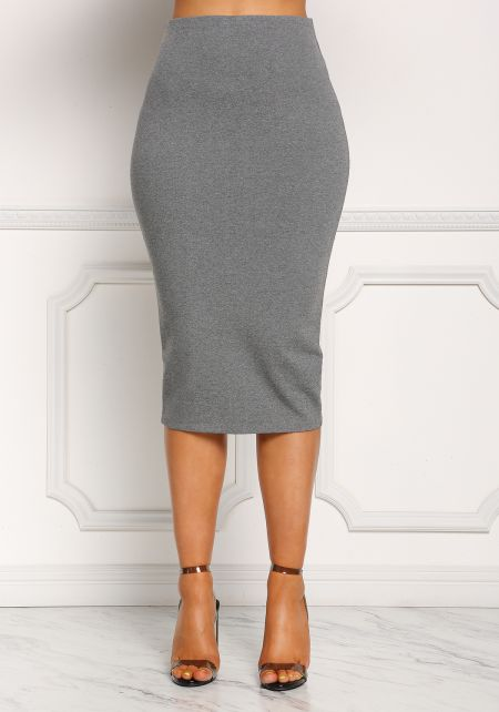 Heather Grey High Rise Midi Skirt