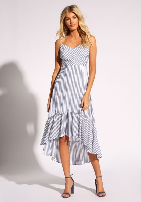 White and Navy Pinstripe Lace Up Midi Dress