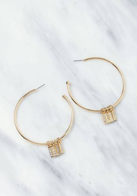 Gold Rhinestone Bar Hoop Earrings