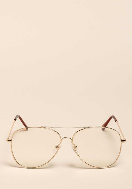 Gold Thin Frame Clear Aviator Glasses